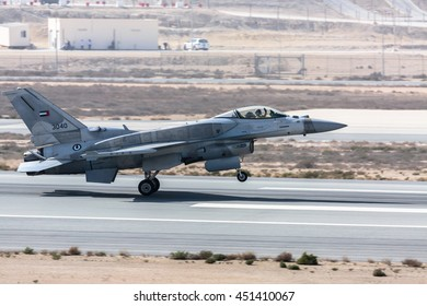 SAKHIR AIRBASE, BAHRAIN - JANUARY 22, 2016: The landing of F-16 after its flying display and aerobatic show in Bahrain International Airshow