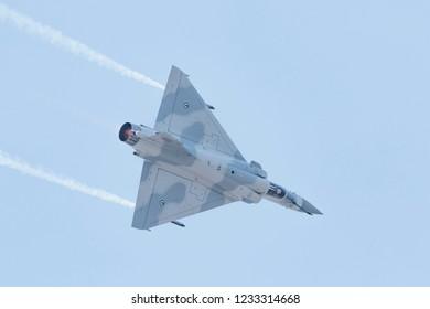 SAKHIR AIRBASE, BAHRAIN - November 16: Flying display and aerobatic show of UAE Mirage 2000 in Bahrain International Airshow at Sakhir Airbase, Bahrain on 16 November, 2018