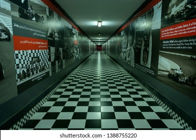 Sakhir, Bahrain, March 30, 2019: Underpass to the Paddock of Bahrain Formula One and Batelco Grandstand at the Bahrain International Circuit