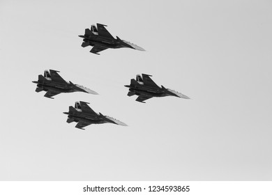 SAKHIR, BAHRAIN - NOVEMBER 14: Flying display and aerobatic show of Russian Knights Su-27 in Bahrain International Airshow at Sakhir Airbase, Bahrain on 14 November, 2018