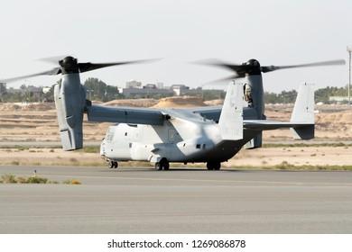 SAKHIR, BAHRAIN - NOVEMBER 14: Flying display and aerobatic show of USMC MV-22 Osprey in Bahrain International Airshow at Sakhir Airbase, Bahrain on 14 November, 2018