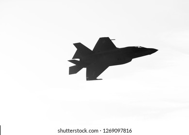 SAKHIR, BAHRAIN - NOVEMBER 14: Flying display and aerobatic show of USMC F-35 in Bahrain International Airshow at Sakhir Airbase, Bahrain on 14 November, 2018
