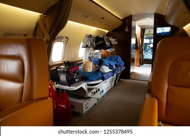 SAKHIR, BAHRAIN - NOVEMBER 14: Static display of FAI, Bombardier Challenger 850 with Air ambulance facility, Bahrain International Airshow at Sakhir Airbase, Bahrain on 14 November, 2018