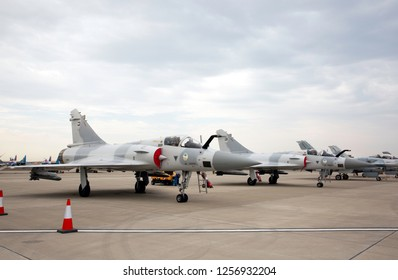 SAKHIR, BAHRAIN - NOVEMBER 14: Static display of Mirage 2000 in Bahrain International Airshow at Sakhir Airbase, Bahrain on 14 November, 2018