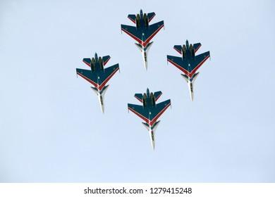 SAKHIR, BAHRAIN - NOVEMBER 15: Flying display and aerobatic show of Russian Knights Su-27 in Bahrain International Airshow at Sakhir Airbase, Bahrain on 15 November, 2018