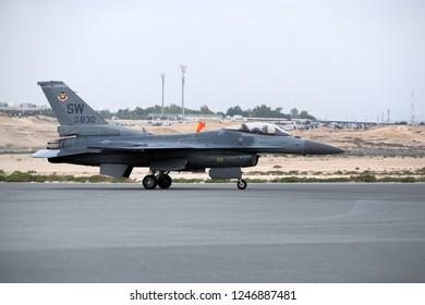 SAKHIR, BAHRAIN - NOVEMBER 16: The Last flight & aerobatic show of USAF F-16 in Bahrain International Airshow at Sakhir Airbase, Bahrain on 16 November, 2018