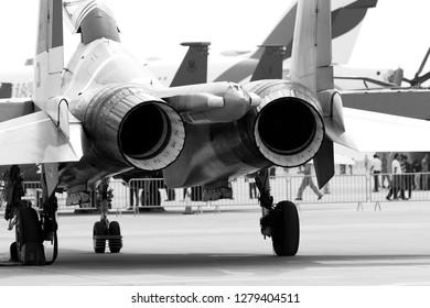 SAKHIR, BAHRAIN - NOVEMBER 16: Static display of Russian Knights Su-27 in Bahrain International Airshow at Sakhir Airbase, Bahrain on 16 November, 2018