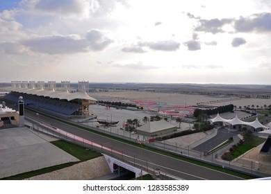 SAKHIR, BAHRAIN-FEB. 07: Main Grandstand at Bahrain International Circuit on Feb 07, 2011 in Sakhir, Bahrain. The motorsport venue opened in 2004 that hosts the prestigious FIA Formula 1 race - Image
