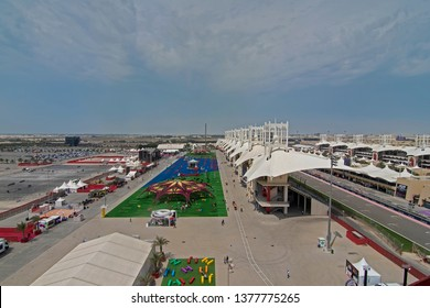 SAKHIR, BAHRAIN-MARCH. 30: Main Grandstand at Bahrain International Circuit on March 30, 2019 in Sakhir, Bahrain. The motorsport venue opened in 2004 that hosts the prestigious FIA Formula 1 race