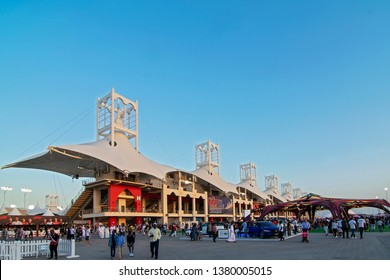 SAKHIR, BAHRAIN-MARCH. 30: Main Grandstand and village, a vending & entertainment areaF1  on March 30, 2019 in Sakhir, Bahrain.