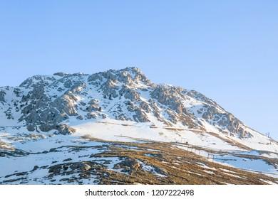 Saklikent Ski Centre in spring on Taurus Mountain of Antalya in Turkey. While you are having a summer holiday in Antalya, you should enjoy skiing in Saklikent.