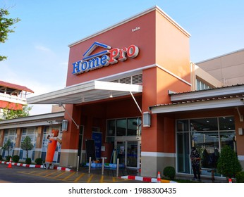 Sakon Nakhon, Thailand - April 11, 2021 : The entrance of HomePro. HomePro is a Thai retail business in home improvement.