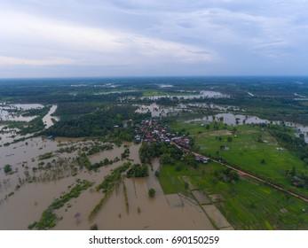 Sakon Nakhon, Thailand - August 3, 2017: Water flood at Sakon Nakhon, Thailand