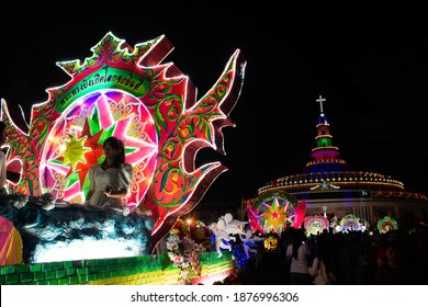SAKON NAKHON, THAILAND - DEC 25, 2018 :Firework at the celebrating Christmas with the dazzling star parade on more than 200 cars together in Parade of Christmas Star parade festival.