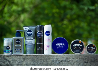 SAKON NAKHON, THAILAND - jULY 30, 2018: Nivea is a German personal care brand that specializes in skin- and body-care products,It is the best selling and most popular brand in Thailand.
