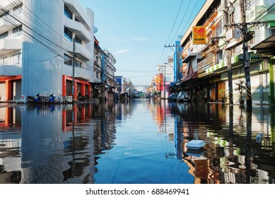 Sakon Nakhon, Thailand - July 31, 2017: A massive volume of floodwater from Phu Phan Mountains flowed through the city of Sakon Nakhon into Nong Narn, the largest lake in Northeast of Thailand .