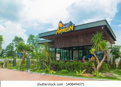 Sakon Nakhon,Thailand.May 25,2019:Cafe Amazon,Is the best selling coffee shop With a sweet,delicious flavor like no other, both exterior and interior In the midst of nature,PTT staton ,Sakon Nakhon.TH