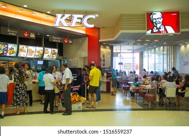 Sakon Nakhon,Thailand, August 20,2019:KFC Fast food,Kentucky Fried Chicken (KFC),Many people are waiting to buy the world famous brand fried chicken. And the best selling around the world,Robinson,TH