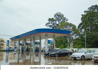 Sakon Nakhon,Thailand - JULY 27, 2018: PTT gas station. PTT Public Company Limited or simply PTT is a Thai state-owned SET-listed oil and gas company.