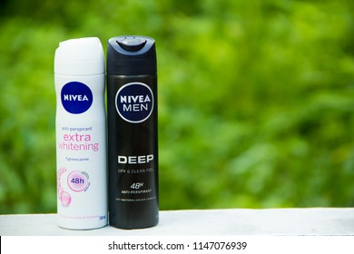 SAKON NAKHON,THAILAND, JULY 30-2018: A can of Nivea Men deodorant. Nivea is a German personal care brand that specializes in skin- and body-care & is owned by Beiersdorf Global AG. Editorial.