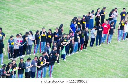 Sakon Nakhon,Thailand, June 21,2018 : Cheer Activity.school hazing, ,Freshmen Welcoming Ceremony ,New Student Orientation, at Saint Joseph Thare School , on Thailand.