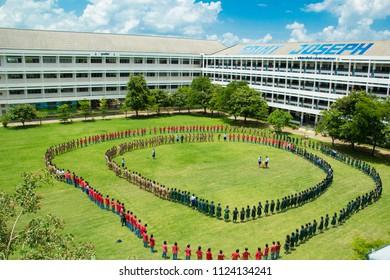 Sakon Nakhon,Thailand, June 21,2018 : Cheer Activity, School hazing ,Freshmen Welcoming Ceremony ,New Student Orientation, at Saint Joseph Thare School , on Thailand.