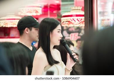 Sakon Nakhon,Thailand, MAY 06,2018 - MCs are promoting in Motor show 2018 at Robinson Sakon Nakhon,Thailand