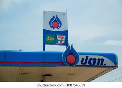 Sakon Nakhon,Thailand, MAY 10,2018, PTT gas station, the popular gas station in sakon nakhon,Thailand.