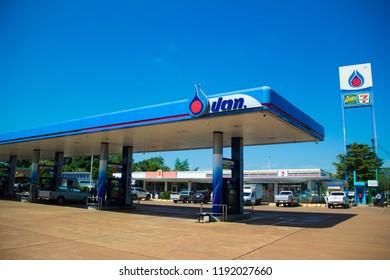 Sakon Nakhon,Thailand, September 30,2018, PTT gas station, the popular gas station in sakon nakhon,PTT Petrol Station Signs 7-11 and Café Amazon and Blue Sky.Thailand.