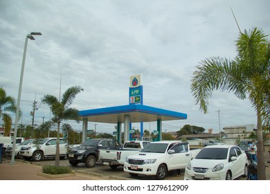 Sakon Nakhon,Thailand, September 30,2018, PTT gas station, LPG gas staion,the popular gas station in sakon nakhon,PTT Petrol Station Signs 7-11 and Café Amazon and Blue Sky.Thailand.