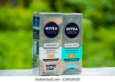 SAKON NAKHON,THAILAND,JULY 30- 2018:NIVEA MEN Extra White and Antioil White,It is a serum that protects the sun and regulates sebum and whitening,It is the most popular and best selling in Thailand.