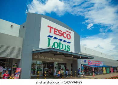 Sakon Nakhon,Thailand,June 30,2019:Tesco Lotus,Is a large department store of Thai people Which sells both consumer goods, food, beverages, clothing and electrical appliances That is highly popular.TH