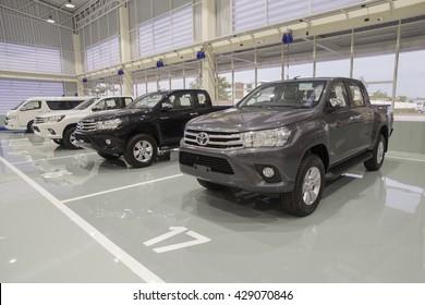 Sakonnakhon, THAILAND - MAY 29: The Toyota  car on display new showroom epoxy floor