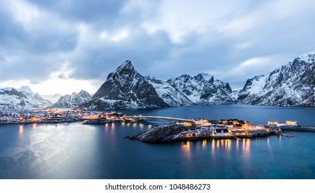 Sakrisoy, Lofoten, Norway at blue hour seen from the hill in front