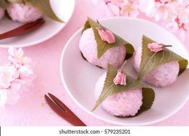 Sakura Mochi, Japanese traditional confectionary wrapped with a salted cherry leaves