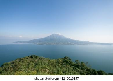 Sakurajima of the blue sky.