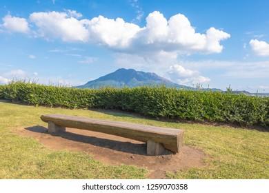 Sakurajima mountain, sea and blue sky background , Kagoshima, Kyushu, Japan