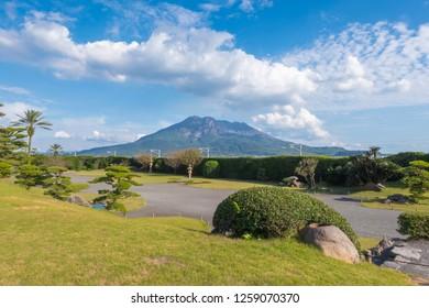 Sakurajima mountain, sea and blue sky background, Kagoshima