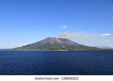 Sakurajima volcano in southern Kyushu, Japan, is still active with much volcanic ash and gases. It locates in Kagoshima Bay. Photoed from a ferry boat.