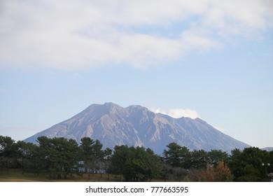 Sakurajima in winter, Japan.