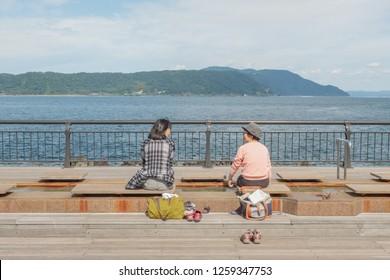Sakurashima,Kyushu,Japan - October 22, 2018 : Foot onsen at Sakurajima island