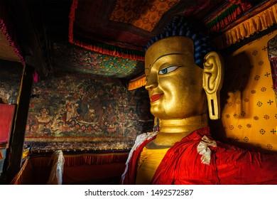 Sakyamuni Buddha statue in Shey gompa (Tibetan Buddhist monastery). Shey, Ladakh, India