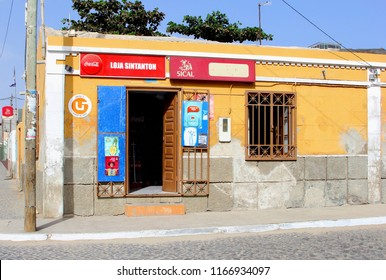 SAL, CAPE VERDE, AFRICA - December 21, 2017. Vintage store front of small grocery shop and local mini market mercado in old African village street.