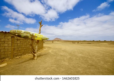 SAL, CAPE VERDE - APRIL 2019: Bar mirage is a isolated bar located in a desert area in the middle of Sal island, Cape Verde arcipelago