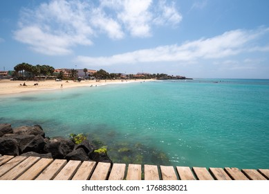 SAL ISLAND, CAPE VERDE - 04-28-2019: the wooden pier of Santa Maria in Sal island, Cape Verde