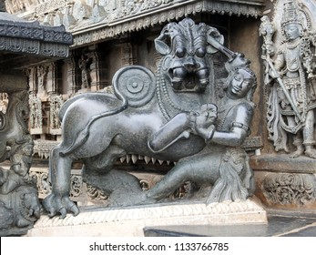 Sala fighting the Lion, the emblem of the Hoysala Empire - Chennakeshava Temple, Belur, Hassan District of Karnataka state, India. It was commissioned by Hoysala Empire King Vishnuvardhana in 1117 CE.