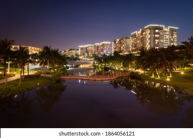 Sala satellite city, a luxury apartment buildings in Ho Chi Minh city, is brilliant at evening