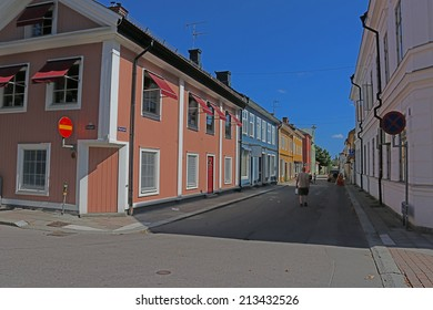 SALA, SWEDEN - AUGUST 1, 2014: Small residential street in the swedish town of Sala