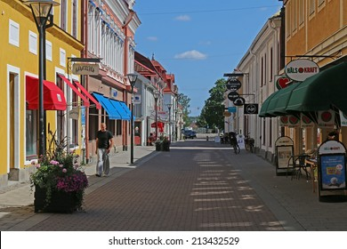 SALA, SWEDEN - AUGUST 1, 2014: Small Shopping street in the swedish town of Sala