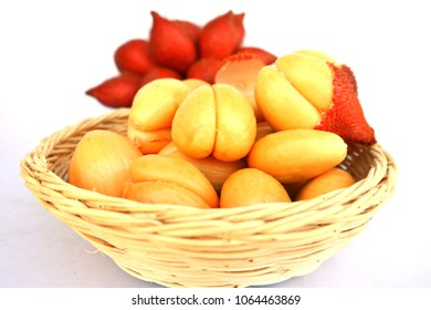 Sala or Zalacca it is sweet and sour fruit from Thailand and Sala seed white background